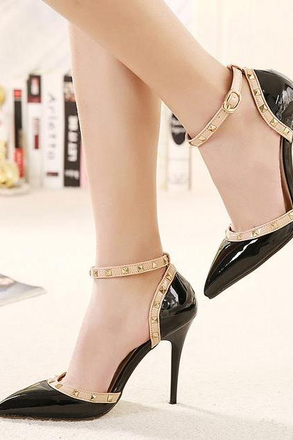 Rivet Design Black Pointed Toe High Heels Shoes