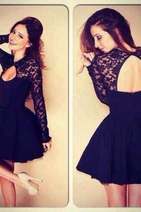 2015 new Lace Cocktail dresses 2015 Black Long Sleeves Cocktail Dress With Keyhole Back