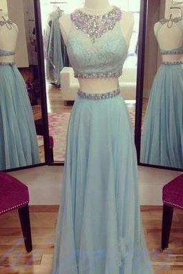 Light Blue Prom Dresses, 2 Piece Prom Gowns,2 pieces Prom Dresses,Open Backs Prom Dresses,Backless Prom Gown,2015 Fashion Prom Dress With Chiffon Skirts
