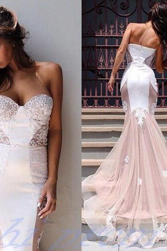 2015 Mermaid Sweetheart Wedding Dresses Perfect Lace Long Prom Dress Princess White Lace Blush Pink Tulle Skirts Evening Gowns For Formal