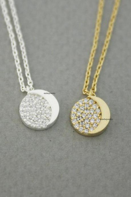 Crescent moon Disc pendant Necklace detailed with Cubic in 2 colors , N0659G
