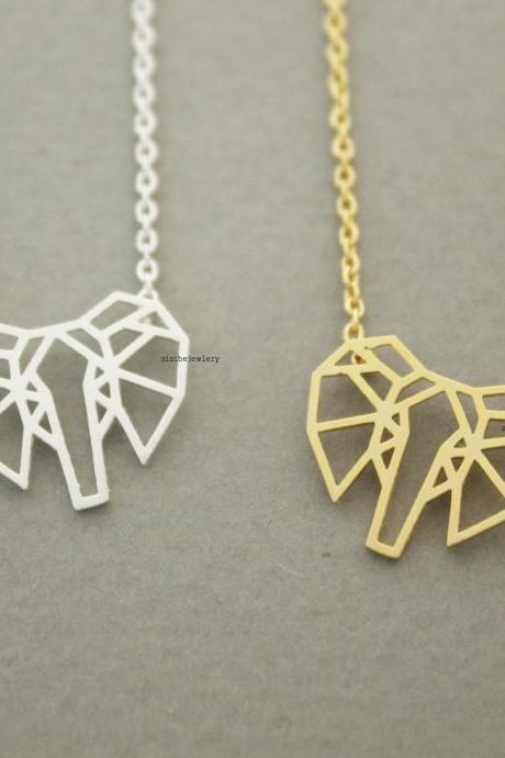 cut-out Origami elephant / elephant face Pendant Necklace in silver/ gold , N0646G