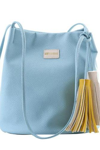 Simple Solid Tassel Bucket Bag