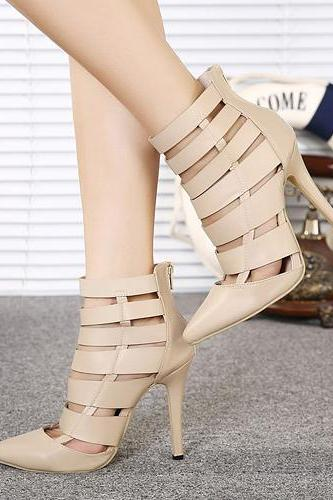 Fabulous Bandage Design Pointed Toe High Heels Fashion Shoes In Apricot