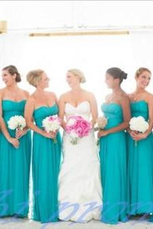 Custom Made Blue Sweetheart Neckline A Line Chiffon Bridesmaid Dress