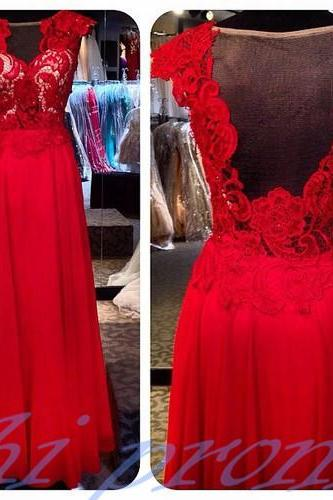 Backless Prom Dresses,Open Back Prom Gowns,Red Prom Dresses 2016,With Cap Sleeves Party Dresses,Chiffon Open Backs Prom Gown,Prom Dress