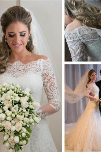 Sexy Lace Appliques Wedding Dresses,Custom Made Bridal Gown,Long Sleeve Wedding Dresses, Mermaid Wedding Dress ,Wedding Dress 2015