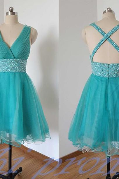 Blue Homecoming Dress,Straps Homecoming Dresses,Tulle Homecoming Gowns,Backless Party Dress,Open Back Short Prom Gown,Sweet 16 Dress,Open Backs Homecoming Gowns