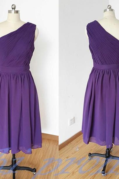 Grape Bridesmaid Dresses,Knee Length Bridesmaid Gown,Summer Bridesmaid Gowns,Beach Bridesmaid Dress,One Shoulder Bridesmaid Gown,Beach Bridesmaid Dress