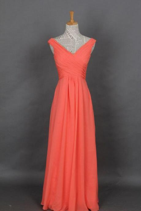 Pretty Simple Coral Chiffon Bridesmaid Dresses, Simple Coral Prom Dresses, Bridesmaid Dresses 2016, Evening Dresses