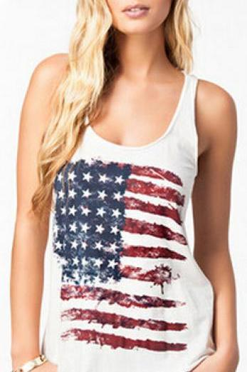 Retro Vest Flag of the United States Pattern Stamp vest