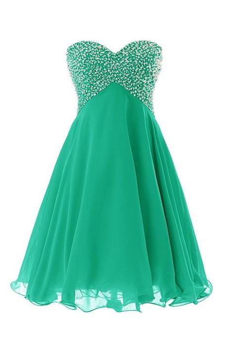 Sweethear neck watermelon chiffon short prom dress,homecoming dresses