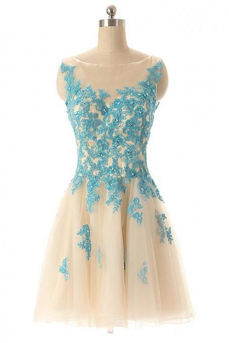 Boat neck champagne tulle with blue lace sleeveless knee length short party dress,homecoming dresses