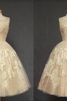 Ulass Tea Length Champagne Lace Wedding Party Dresses Hot Sale Prom Dress