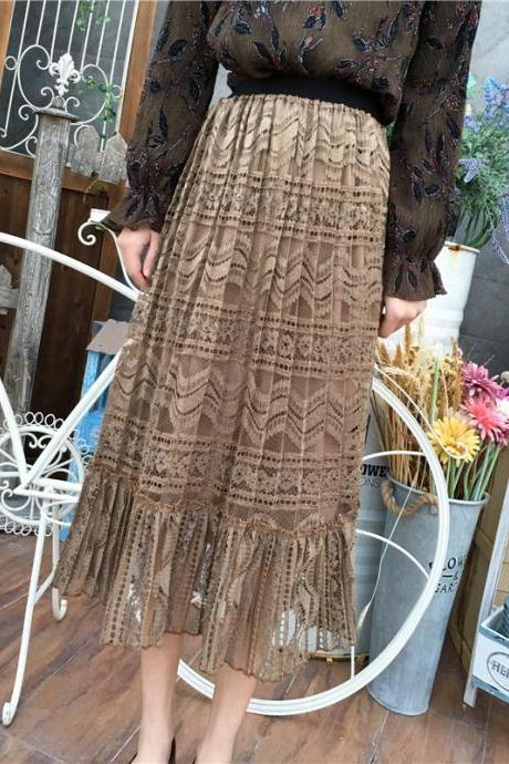 Spring New Hollow Crochet Women's Long Skirt