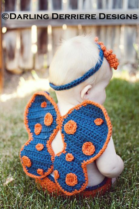 Crochet Butterfly Wings, Diaper Cover, and Headband Pattern