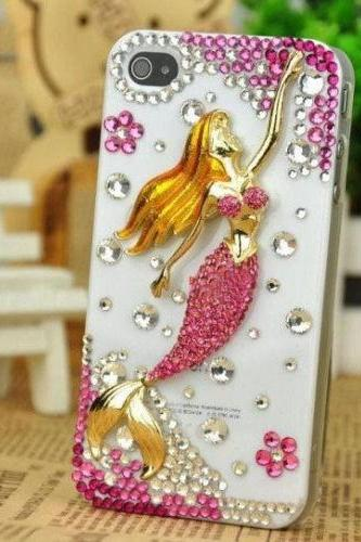 IPhone 6 Case, IPhone 6 Plus Case, IPhone 5s Case, IPhone 4s Case, Bling Wallet Case For Samsung Galaxy Note 4 Note 4 Edge S6 S6 Edge S5 S4 S3, Mermaid bling phone case
