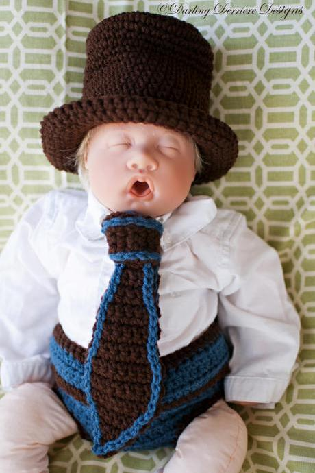 Top Hat, Tie, and Button Strap Diaper Cover Crochet Pattern