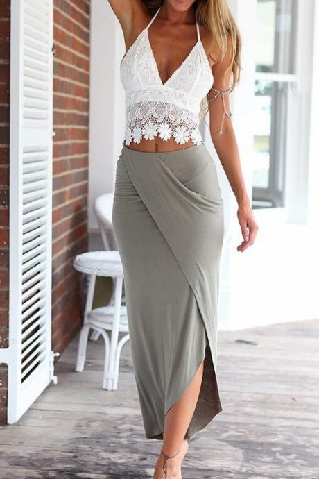 Deep V new lace backless condole belt vest dress pencil skirt two-piece outfit