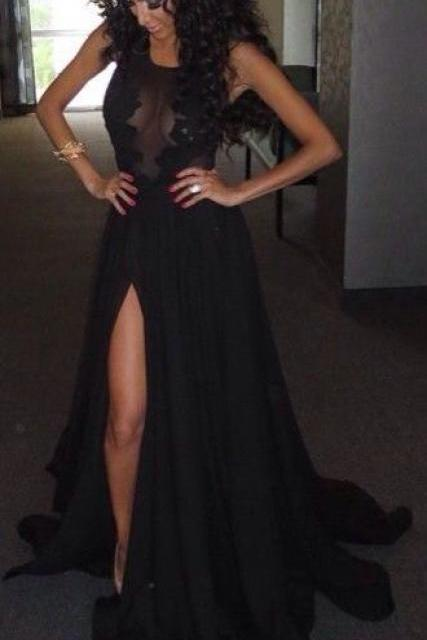 Custom Made Round Neck Black Lace Prom Dresses, Black Lace Formal Dresses