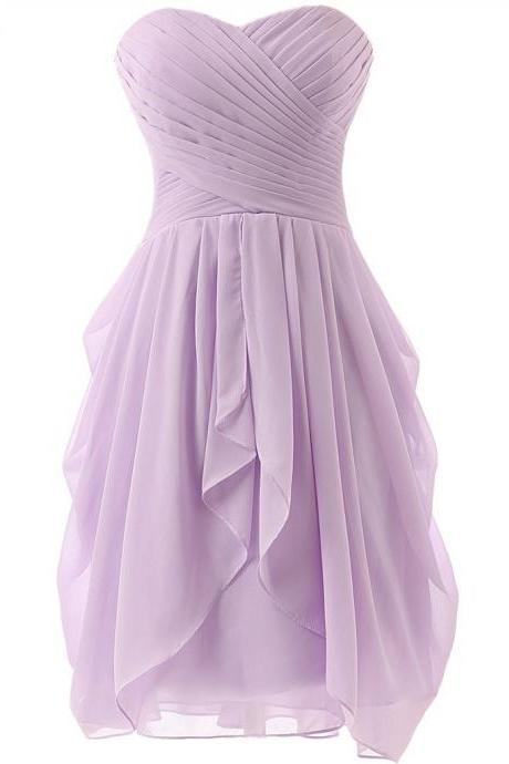 Lavender short prom dress,knee length cocktail dress,pleated chiffon party dress,sweetheart neck lace up back short evening dresses