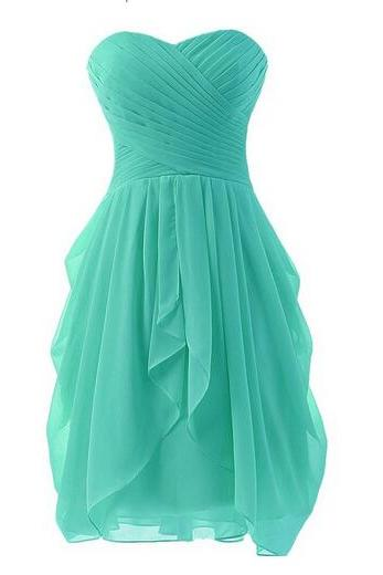 Simple chiffon dress for bridesmaid dress,short turquoise prom dress,pleated short cocktail dress,homecoming dress cheap