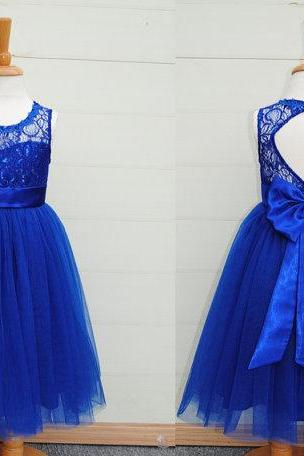 Lovely sleeveless little girl dress with hole back ,royal blue lace and tulle baby dress,childern dress for weddings