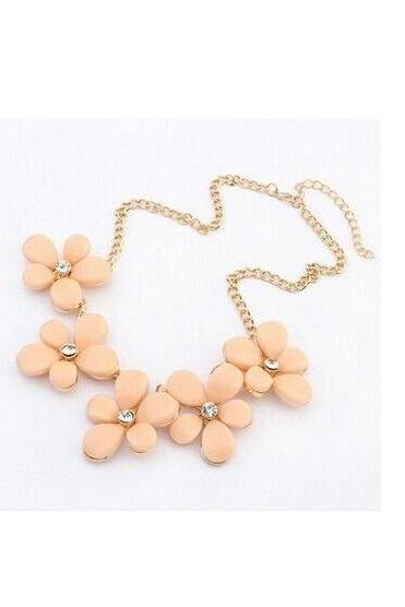 Flowers pink pendants rhinestone dress woman necklace