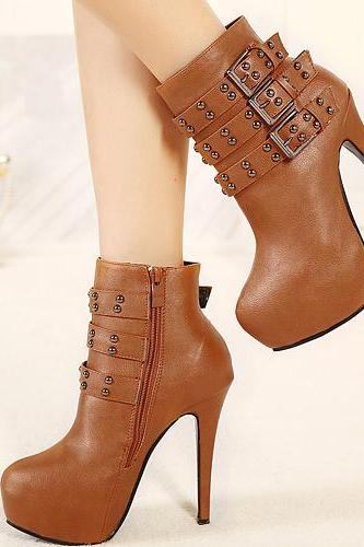 Classy Brown Stiletto High Heel Fashion Boots