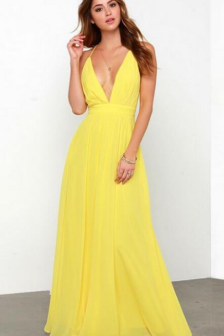 Sweet sexy backless deep V pleated dress, cross back, adjustable straps of the dress dress