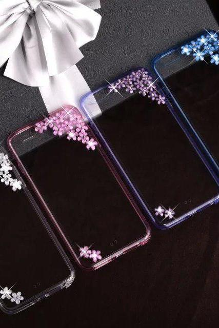 Sakura Flower Bling iPhone 7 Plus, iPhone 6 6s case, iPhone 6 6s Plus case, iPhone 5s SE case, iPhone 5c case, bling wallet case for samsung galaxy note 4 note 5 s7 edge s6 edge s5
