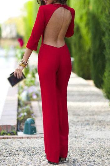 Free shipping Red Three Quarter Sleeve Open Back Straight Jumpsuit