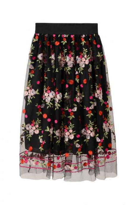 Flowers Embroidered Gauze Skirt