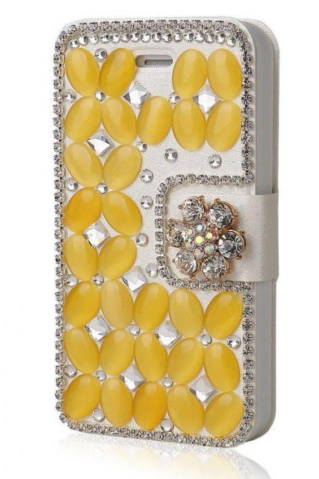 Yellow Bling iPhone 7 Plus leather wallet case, iPhone 6 6s Plus leather case, iPhone 5s SE leather wallet case, iPhone 5 5c leather cover, bling wallet case for samsung galaxy note 5 note 4 s7 edge s6 edge s5