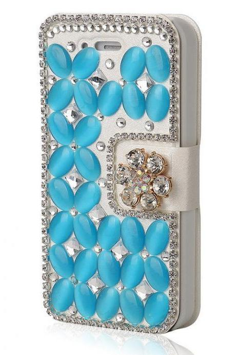 Blue Bling iPhone 7 Plus leather wallet case, iPhone 6 6s Plus leather case, iPhone 5s SE leather wallet case, iPhone 5 5c leather cover, bling wallet case for samsung galaxy note 5 note 4 s7 edge s6 edge s5