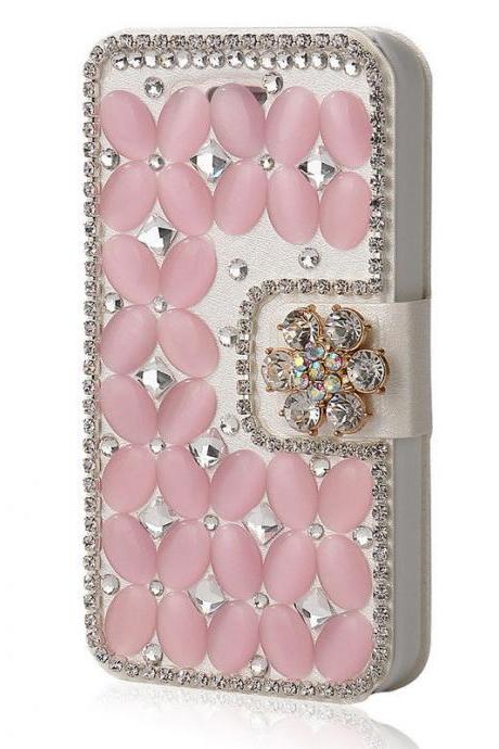Pink Bling iPhone 7 Plus leather wallet case, iPhone 6 6s Plus leather case, iPhone 5s SE leather wallet case, iPhone 5 5c leather cover, bling wallet case for samsung galaxy note 5 note 4 s7 edge s6 edge s5
