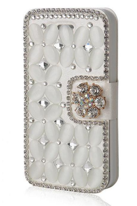 White Bling iPhone 7 Plus leather wallet case, iPhone 6 6s Plus leather case, iPhone 5s SE leather wallet case, iPhone 5 5c leather cover, bling wallet case for samsung galaxy note 5 note 4 s7 edge s6 edge s5