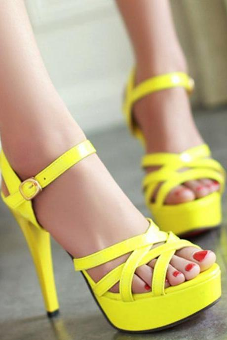 Open Toe Stilletto High Heels Platform Summer Women Ankle Strap Sandals