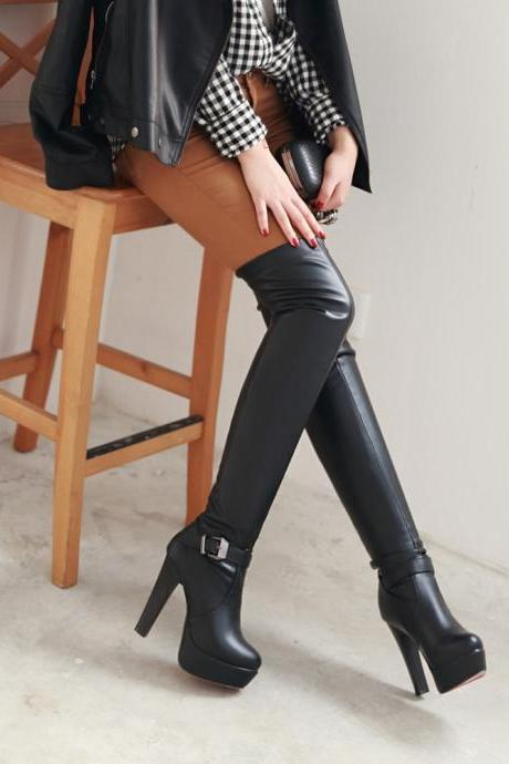Autumn Winter PU Leather Fashion High Heel Platfrom Buckle Over The Knee Tall Women Warm Boots