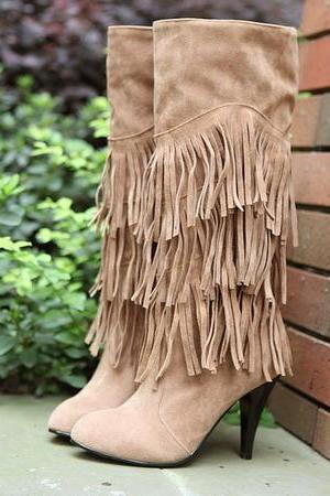 Knee High Heel Fringe Boots