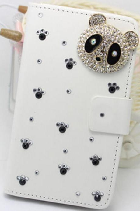 Panda bling iPhone 7 Plus leather wallet case, iPhone 6 6s Plus leather case, iPhone 5s SE leather wallet case, iPhone 5 5c leather cover, bling wallet case for samsung galaxy note 5 note 4 s7 edge s6 edge s5