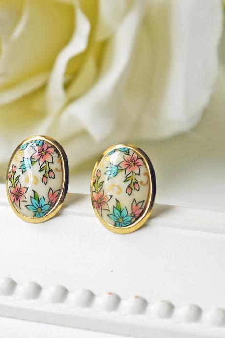 Vintage Floral Cabochon Post Earrings Oval Glass Cabochon Blue Peach Flowers Gold Stud Earrings