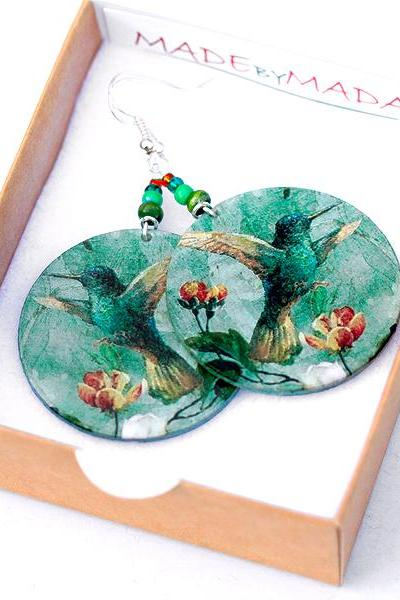 Hummingbird Earrings jade green dangle Romantic