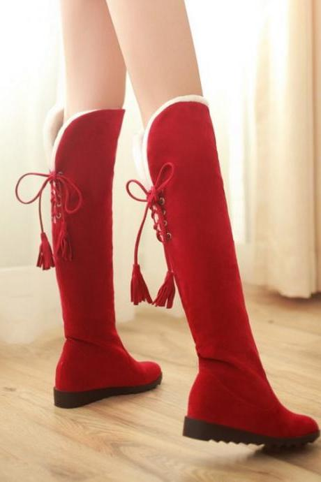 Stylish Red Suede Over The Knee Winter Boots