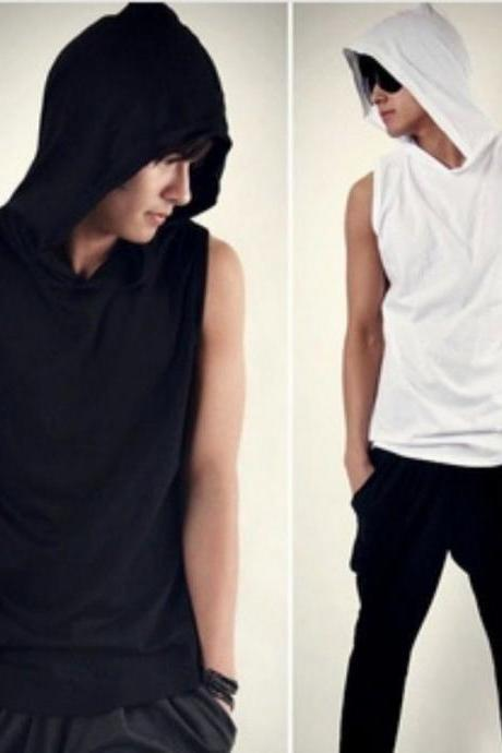 NEW Mens Beach sport Casual Slim Fit Hoody sleeveless T-shirt Vest Tops 2color