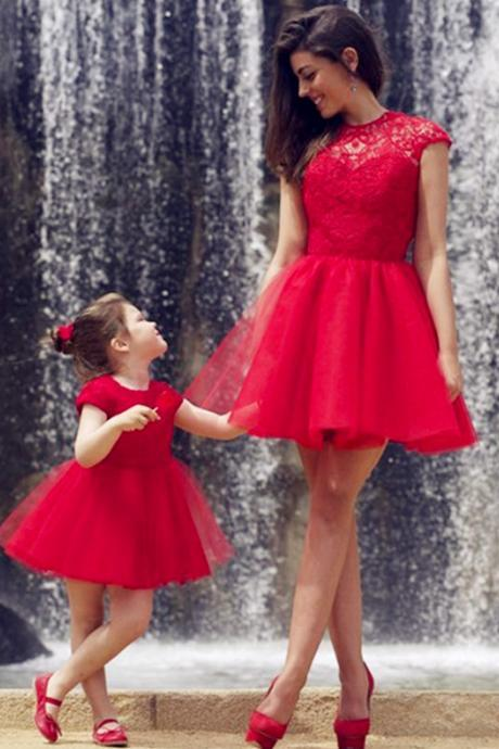 Two Pieces Red Tulle Charming Prom Dresses, Short/Mini Evening Dresses,Two Piece Prom Dresses, Real Made Prom Dresses On Sale,
