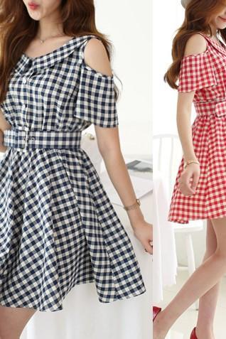 Gingham Cold Shoulder Short Skater Dress Featuring Bow Accent Back, Collar Neck, Belt and Button Detailing