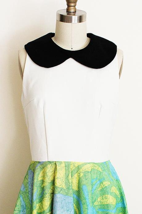 Peter Pan Collar Dress in Vintage Neon Green and Blue Skirt with Black Collar and White Bodice, Small