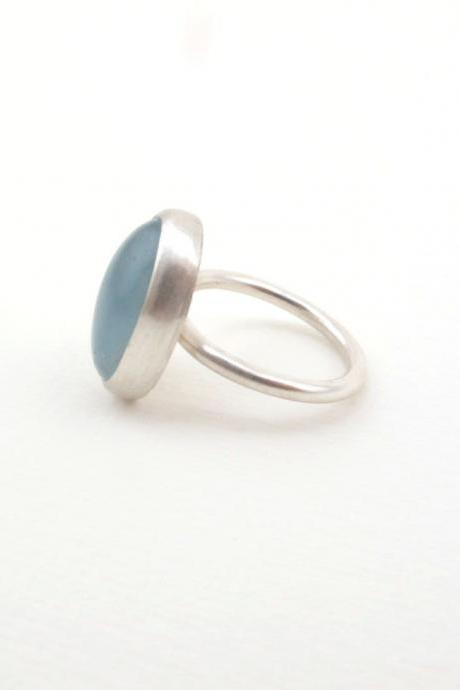 Aquamarine and sterling silver ring.