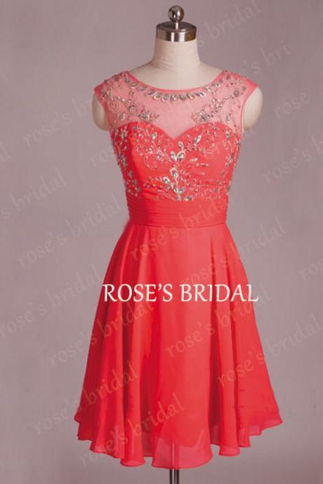 Scoop Neck Coral Short Prom Dresses, Chiffon Prom Dress, Cheap Homecoming Dress, Mini Length Dress, Sexy Prom Dresses, Prom Dresses 2015, Graduation Dresses For Girls